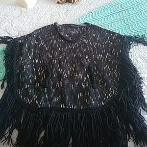 Black Cape with pockets and tassles